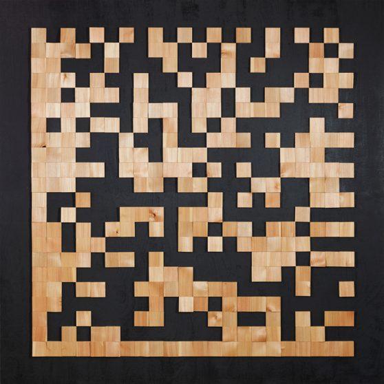 DataMatrixCode - gespaltene Lärche auf Multiplexplatte - 2011 - 156 x 156 cm