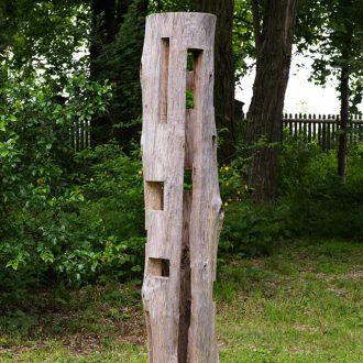 Durchbruch - Pappel (Außenhülle), lebende Weide innen - 2006 - 210 x 50 x 50 cm