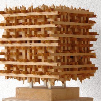 Kubus III - gebrochene Fichtenstäbe - 2013 - 40 x 40 x 40 cm