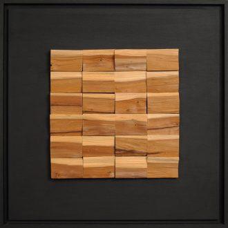 Holzlandschaft Eibe II - gespaltenes Holz auf Trägerplatte - 2009 - 52 x 52 cm