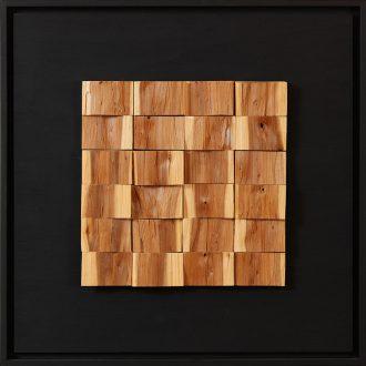 Holzlandschaft Eibe - gespaltenes Holz auf Trägerplatte - 2009 - 52 x 52 cm