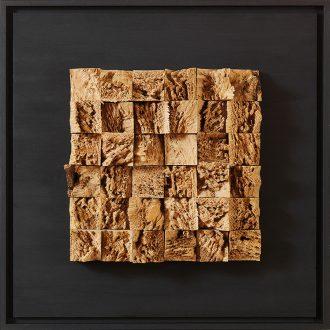 Holzlandschaft Eiche - gespaltenes Holz auf Trägerplatte - 2009 - 52 x 52 cm