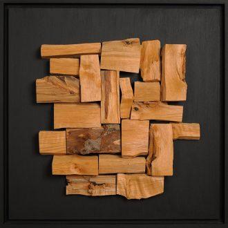 Holzlandschaft Erle - gespaltenes Holz auf Trägerplatte - 2009 - 52 x 52 cm
