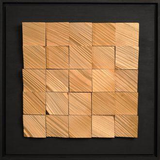 Holzlandschaft Fichte - gespaltenes Holz auf Trägerplatte - 2009 - 52 x 52 cm