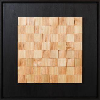 Holzlandschaft Lärche - gespaltenes Holz auf Trägerplatte - 2009 - 52 x 52 cm