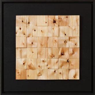 Holzlandschaft Lärche III - gespaltenes Holz auf Trägerplatte - 2009 - 52 x 52 cm