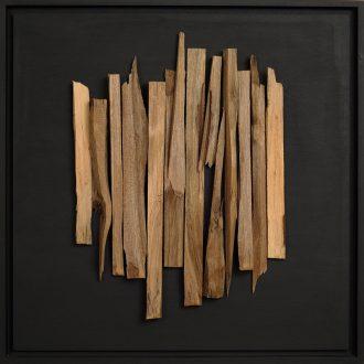 Holzlandschaft Nuss II - gespaltenes Holz auf Trägerplatte - 2009 - 52 x 52 cm