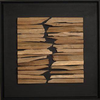 Holzlandschaft Nuss - gespaltenes Holz auf Trägerplatte - 2009 - 52 x 52 cm