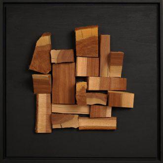 Holzlandschaft Zwetschge II - gespaltenes Holz auf Trägerplatte - 2009 - 52 x 52 cm